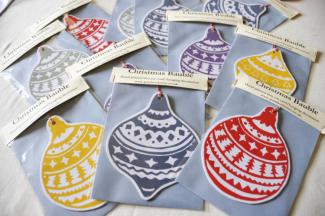 Christmas Bauble Cards - an original fine art greetings cards by Pat Rhead-Phillips