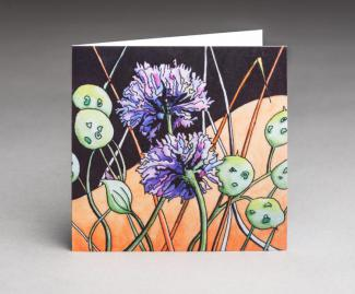 Chives and Honesty - an original fine art greetings cards by Pat Rhead-Phillips