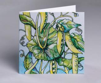Sugar snaps - an original fine art greetings cards by Pat Rhead-Phillips