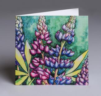 Lupin - an original fine art greetings card by Pat Rhead-Phillips