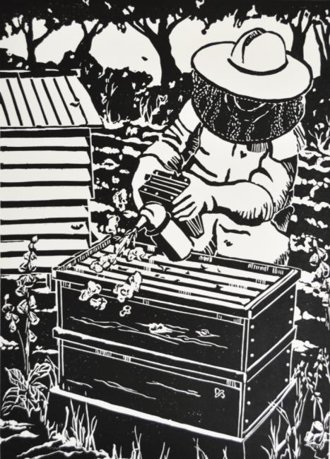 The Beekeeper - original artwork by pat Rhead-Phillips